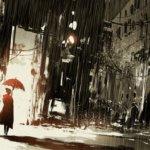 雨の中で傘を差す女